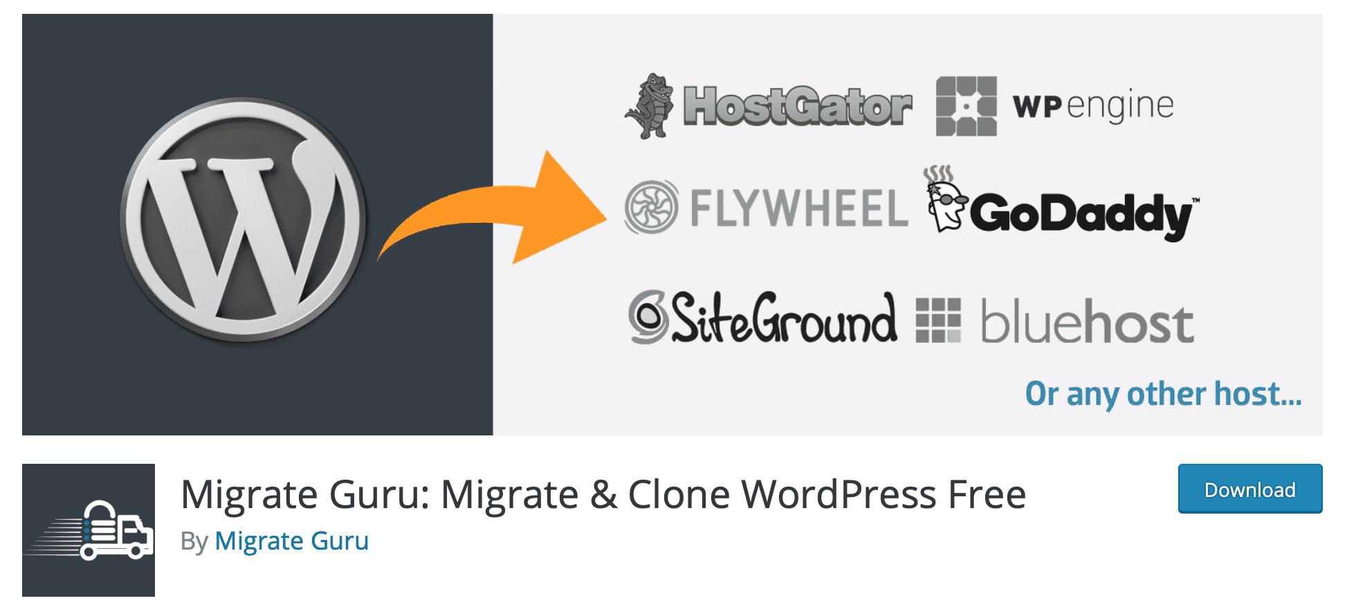 Flytta Wordpress med hjälp av Migrate guru